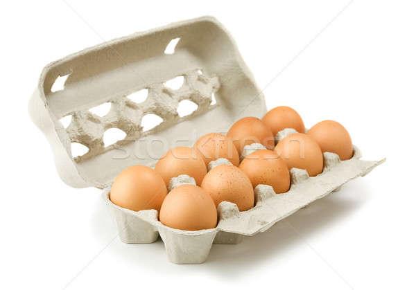 Cartão ovos isolado branco ovo caixa Foto stock © Alexstar