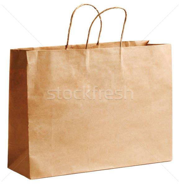 Bevásárlószatyor papír fehér vásárlás űr táska Stock fotó © Alexstar