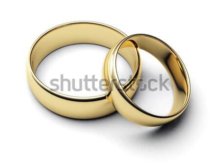 Kettő gyűrűk fehér esküvő gyűrű házasság Stock fotó © Alexstar