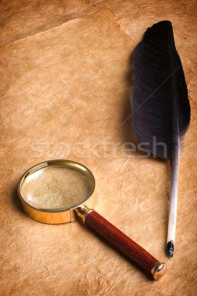 Lupa vintage papel textura vidro fundo Foto stock © Alexstar