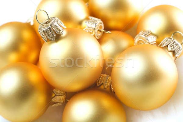 Karácsony golyók tél labda arany modern Stock fotó © Alexstar