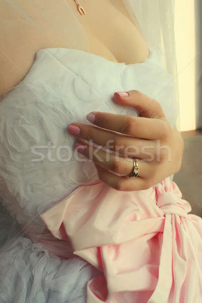 bride with a wedding ring on his hand Stock photo © Aliftin