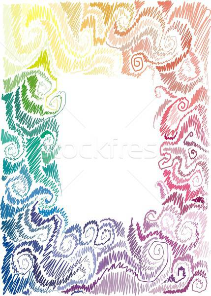 floral rainbow hand-drawn frame Stock photo © Aliftin
