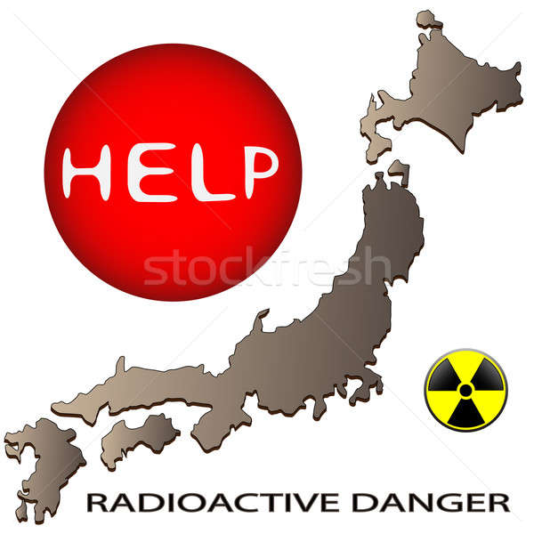 Détresse Japon carte signe radioactifs danger Photo stock © Alina12