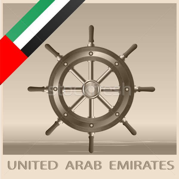 Volante bandeira Emirados Árabes Unidos luz imagem fundo Foto stock © Alina12