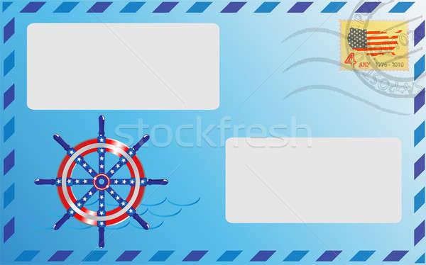 пост конверт синий цвета штампа судно Сток-фото © Alina12