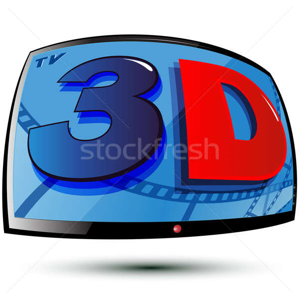 Stereo tv colore 3D display Foto d'archivio © Alina12