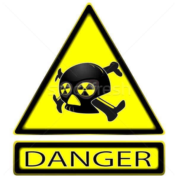 Imzalamak radyoaktivite kafatası plaka temizlemek Stok fotoğraf © Alina12