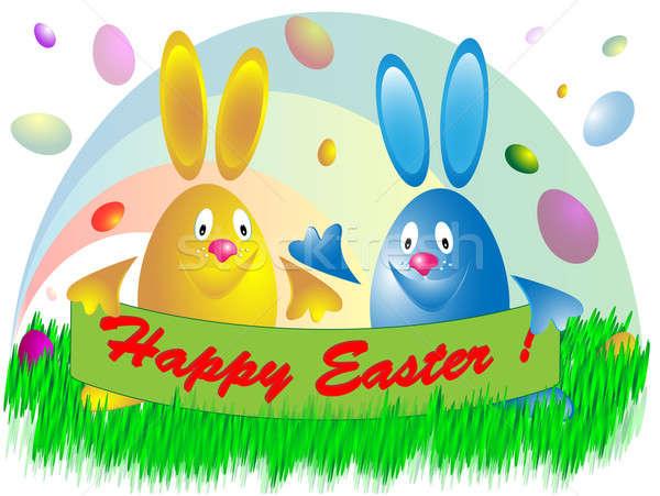 Dos huevos de Pascua color texto arco iris sonrisa Foto stock © Alina12