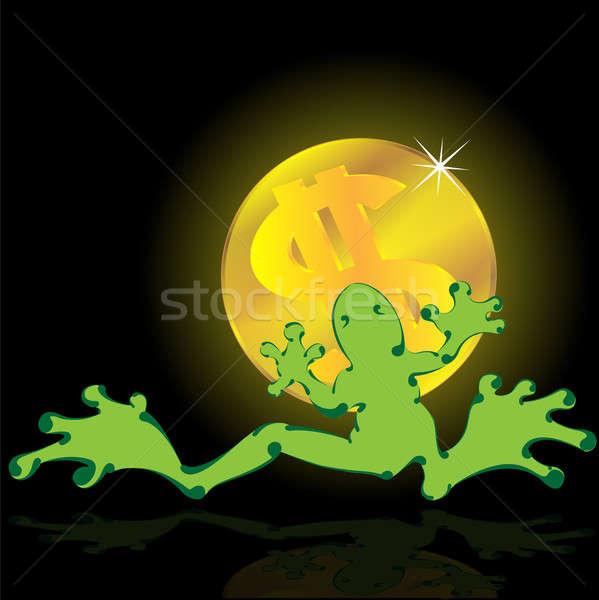 Stok fotoğraf: Kurbağa · dolar · pençeleri · siyah · su