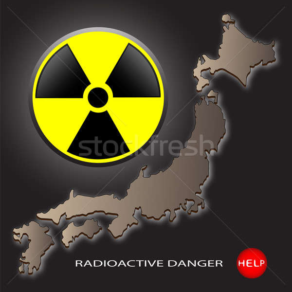 Radioactifs danger carte Japon signe sombre Photo stock © Alina12