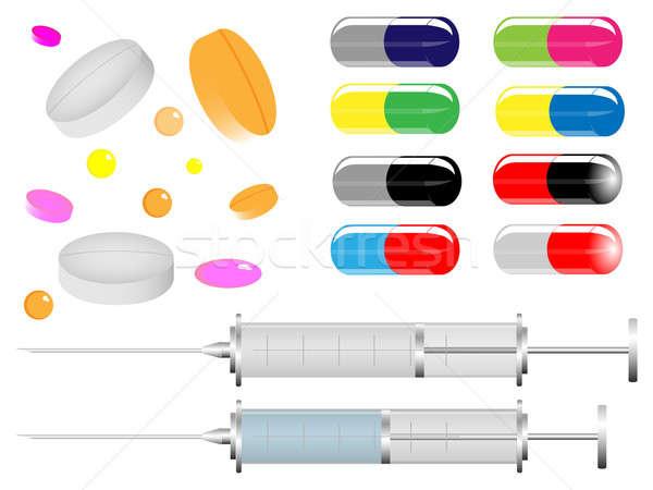 Stock fotó: Orvosi · tabletták · gyűjtemény · kettő · gyógyszer · segítség
