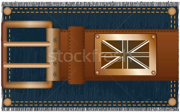 Label vlag modieus leder gordel koper Stockfoto © Alina12
