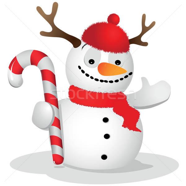 Belachelijk sneeuwpop witte glimlach sneeuw achtergrond Stockfoto © Alina12
