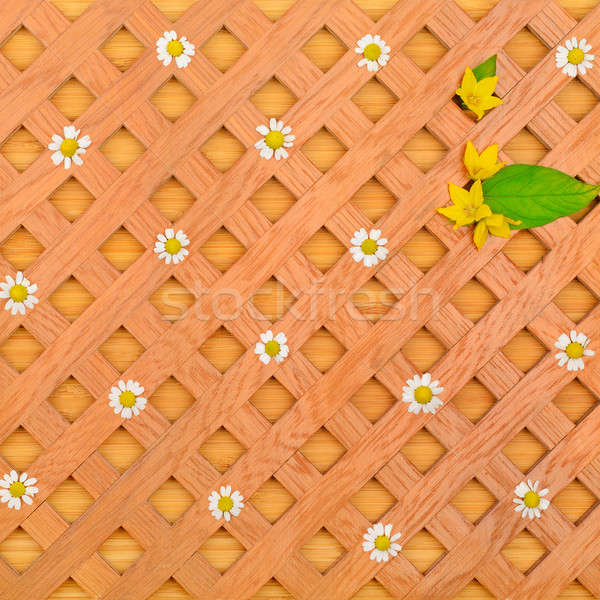 wood background, decorative grille, white daisies and pattern of Stock photo © alinamd