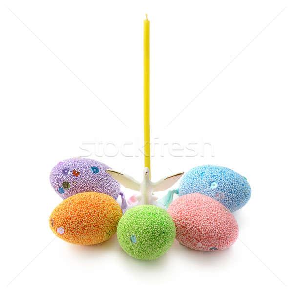 œufs de Pâques chandelier bougie Pâques oeufs colombe Photo stock © alinamd