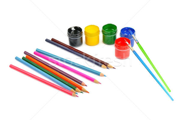 watercolor paint and colored pencils isolated on white backgroun Stock photo © alinamd