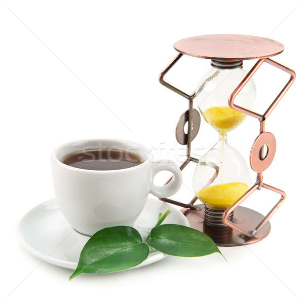 tea cup and hourglass isolated on white background Stock photo © alinamd