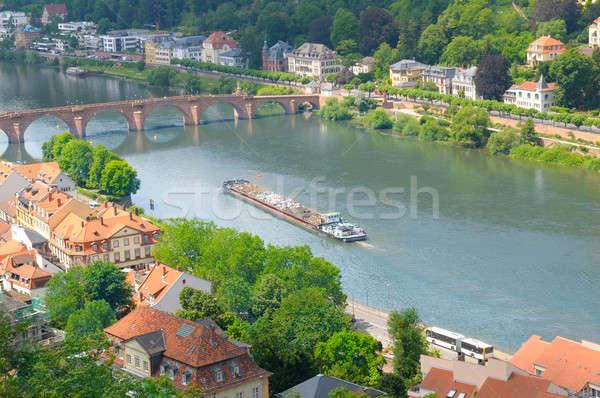 city, bridge, river and barge (top view) Stock photo © alinamd