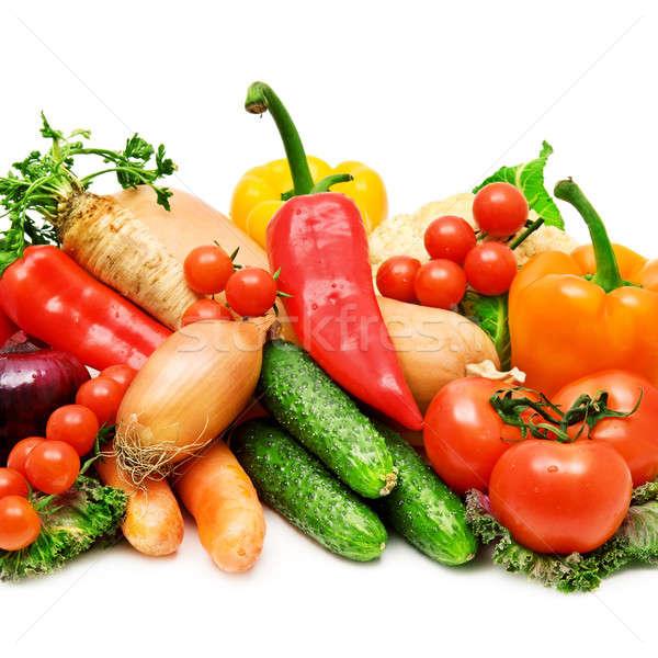 Zestaw świeże warzywa zielone czerwony kolor pomidorów Zdjęcia stock © alinamd