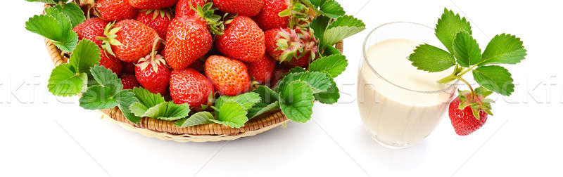 Stock photo: strawberries in a basket and berry smoothies isolated on white b