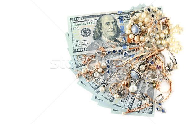 золото украшения долларов изолированный белый ювелирные Сток-фото © alinamd