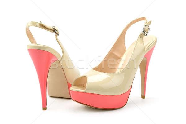 Octrooi leder schoenen geïsoleerd witte vrouw Stockfoto © alinamd