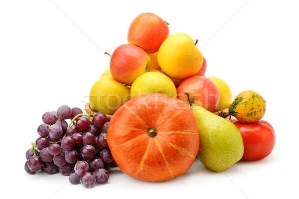 Stock fotó: Gyümölcsök · zöldségek · izolált · fehér · piros · szín