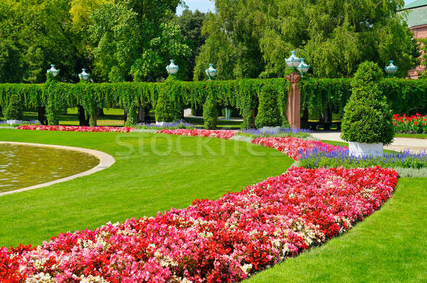 summer park with flower bed and green lawn Stock photo © alinamd