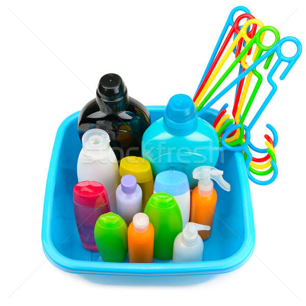 plastic basin with a set of household chemicals isolated on whit Stock photo © alinamd
