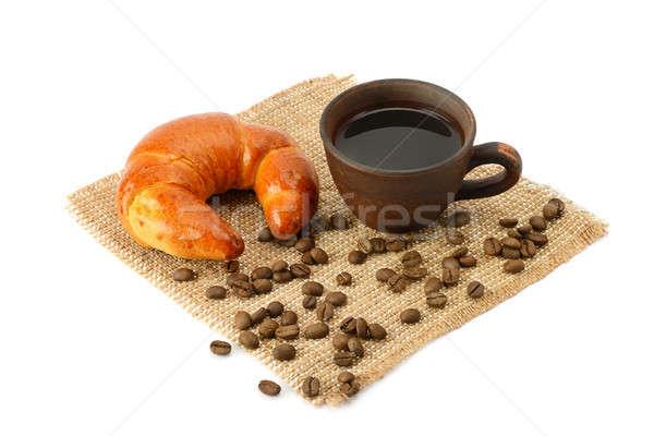 круассан кофе изолированный белый фон хлеб Сток-фото © alinamd