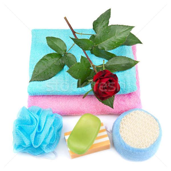 Towel, soap and sponge. Stock photo © alinamd