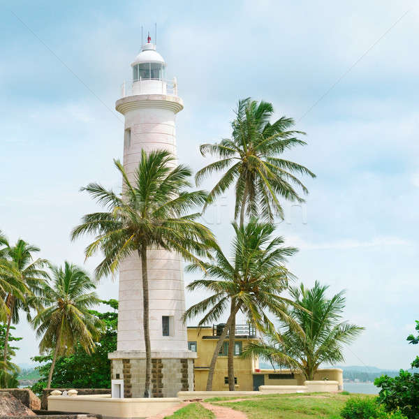 Lighthouse and palm trees in the town of Galle, Sri Lanka Stock photo © alinamd