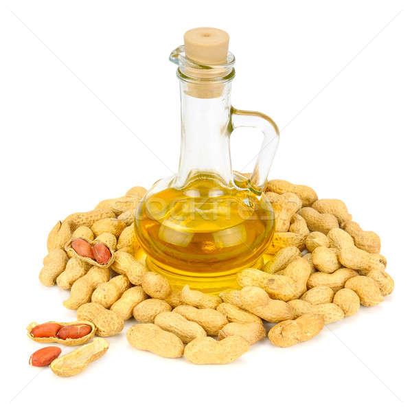 Pinda's olie fles geïsoleerd witte voedsel Stockfoto © alinamd