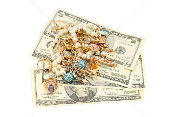 Stok fotoğraf: Altın · süsler · dolar · yalıtılmış · beyaz · para