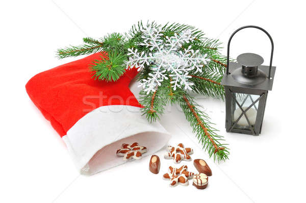 Karácsony harisnya lámpás lucfenyő izolált fehér Stock fotó © alinamd