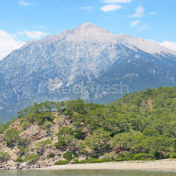 Stock fotó: Gyönyörű · hegy · tájkép · kék · ég · felhők · erdő