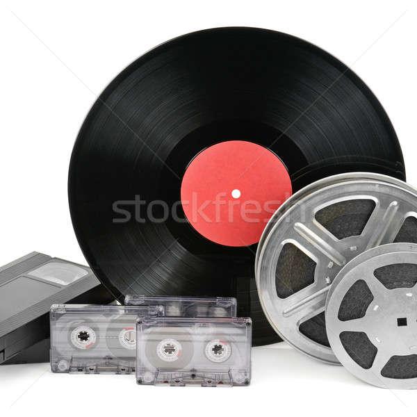 Audio rekordy taśmy filmowej odizolowany biały film Zdjęcia stock © alinamd