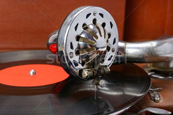 Gramofone vinil registro velho música tecnologia Foto stock © alinamd