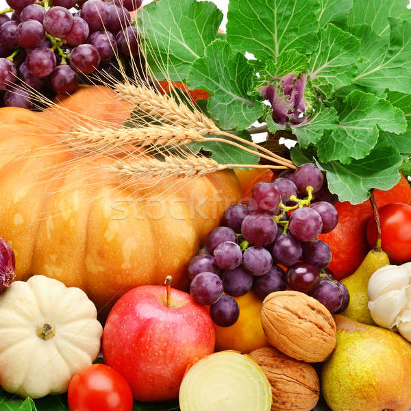 background set of vegetables, fruits and greens Stock photo © alinamd