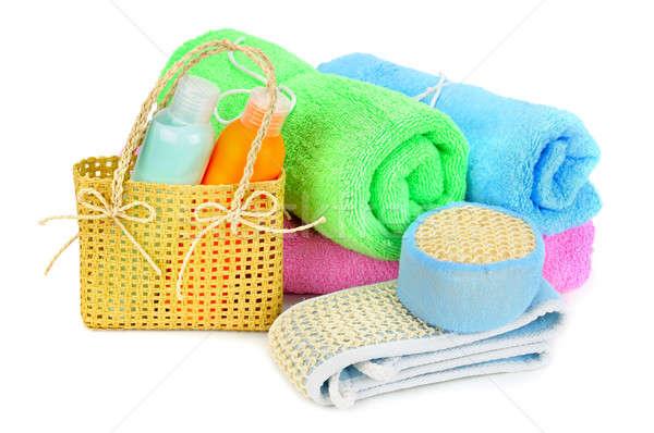 Asciugamani shampoo isolato bianco sfondo bellezza Foto d'archivio © alinamd