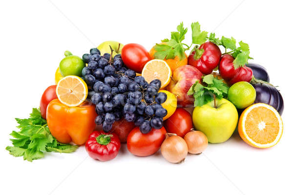 Stock photo: set of different fruits and vegetables  on white background
