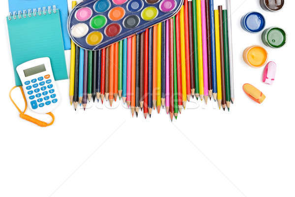 Collection of school supplies, isolated on pure white background Stock photo © alinamd