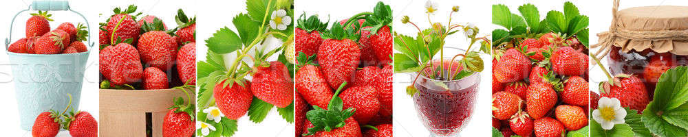 Juteuse fraise jus confiture isolé blanche Photo stock © alinamd