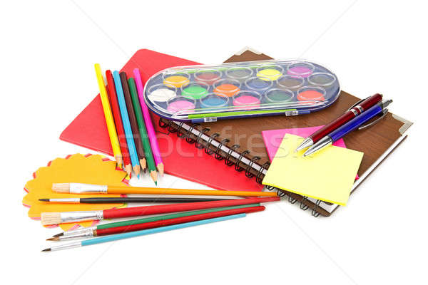 set of office supplies on white background Stock photo © alinamd