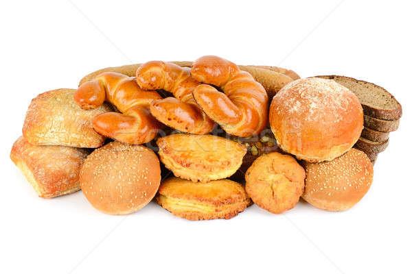 Kenyér pékség termékek izolált fehér különböző Stock fotó © alinamd