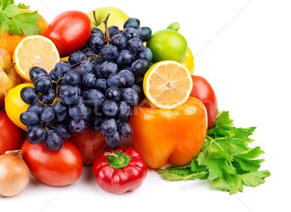 Stockfoto: Ingesteld · verschillend · vruchten · groenten · geïsoleerd · witte