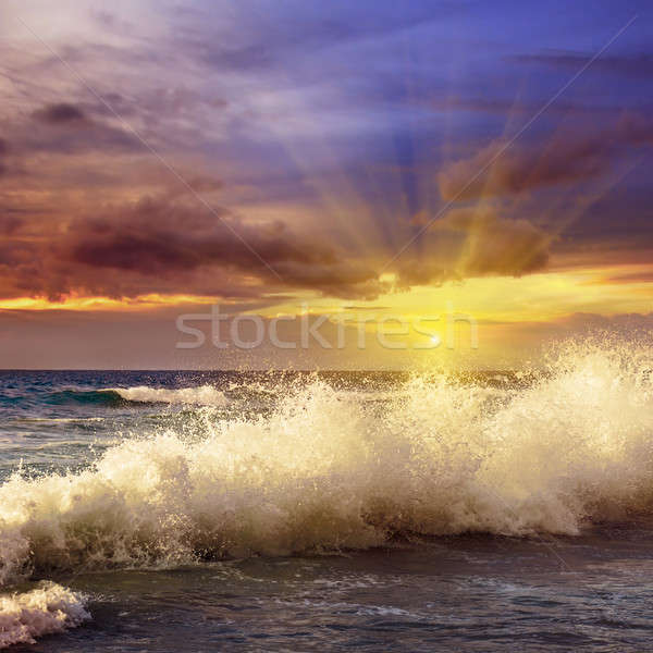 Fantastik gün batımı okyanus su manzara deniz Stok fotoğraf © alinamd