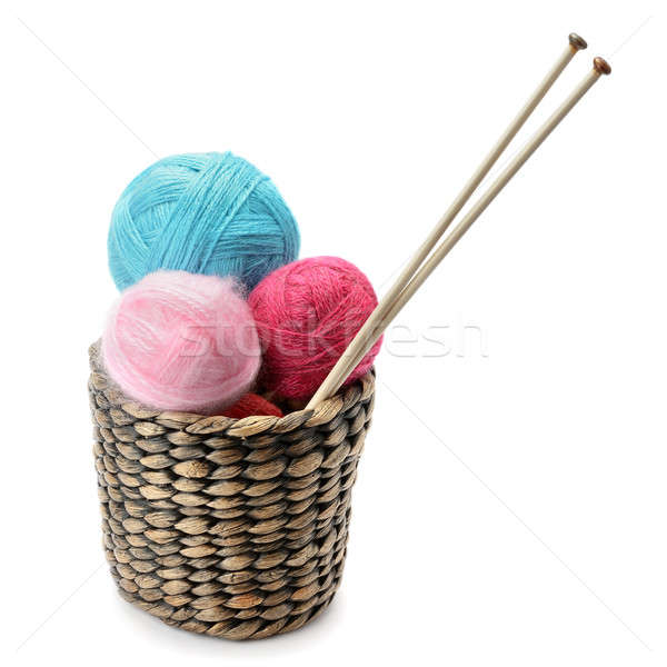 balls of wool and knitting needles isolated on a white backgroun Stock photo © alinamd