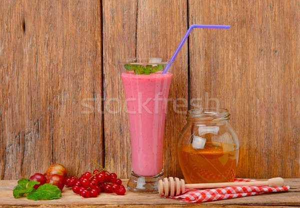 Stock fotó: Bogyó · smoothie · méz · fából · készült · felület · gyümölcs